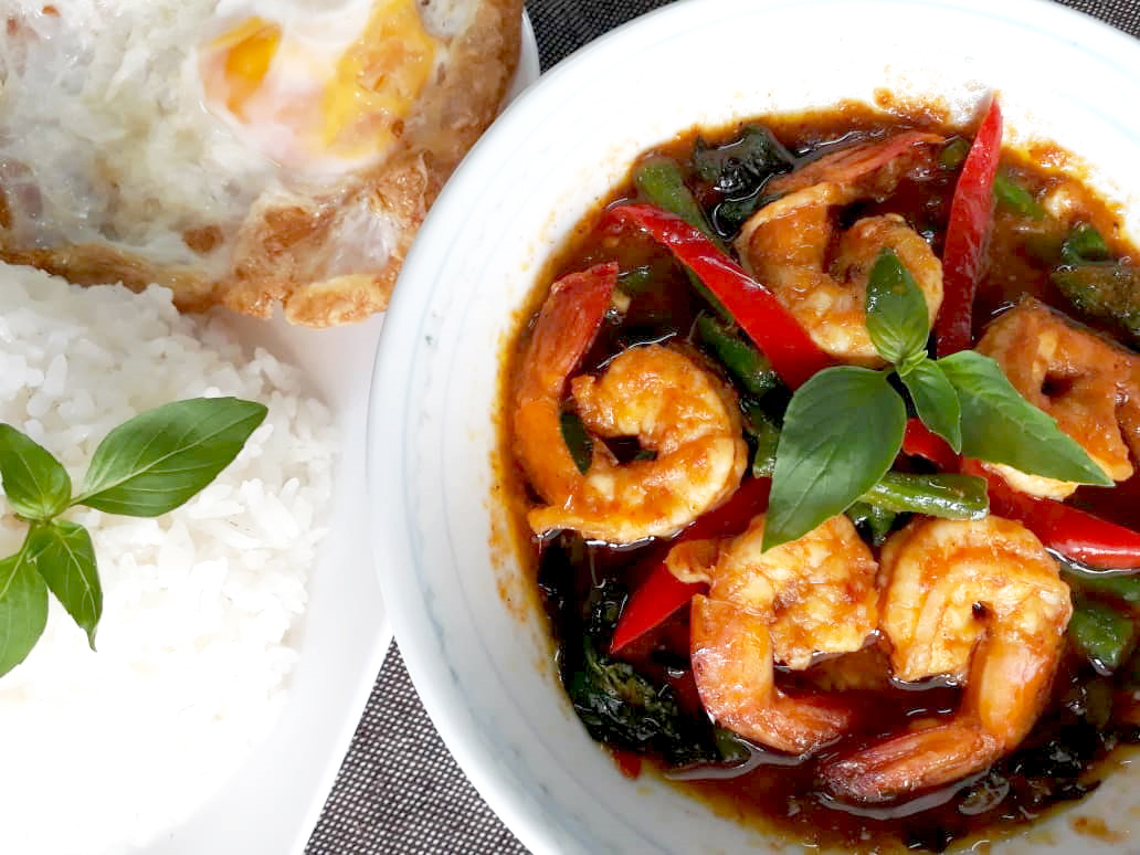 Image of spicy Thai Style Stir Fried Prawn with long bean and chili served with rice prepared by home chef