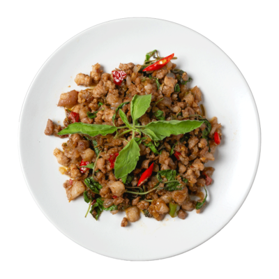Image of Stir Fried Minced meat with Thai Basil and Chilli comes with rice prepared by home chef