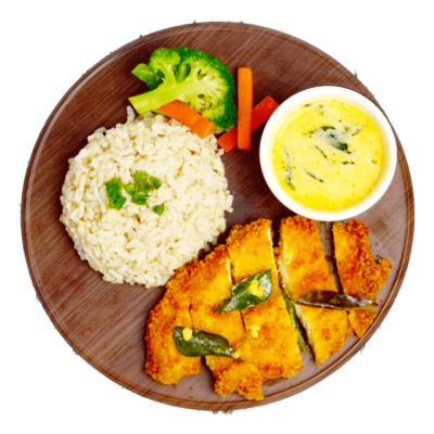 Image of Chicken Chop covered in Salted-Egg Yolk Sauce served with brown rice and freshly-cooked broccoli