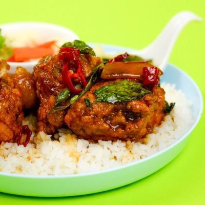 Image of delicious Signature Taiwan 3 Cup Chicken served with rice and freshly-cooked vegetables