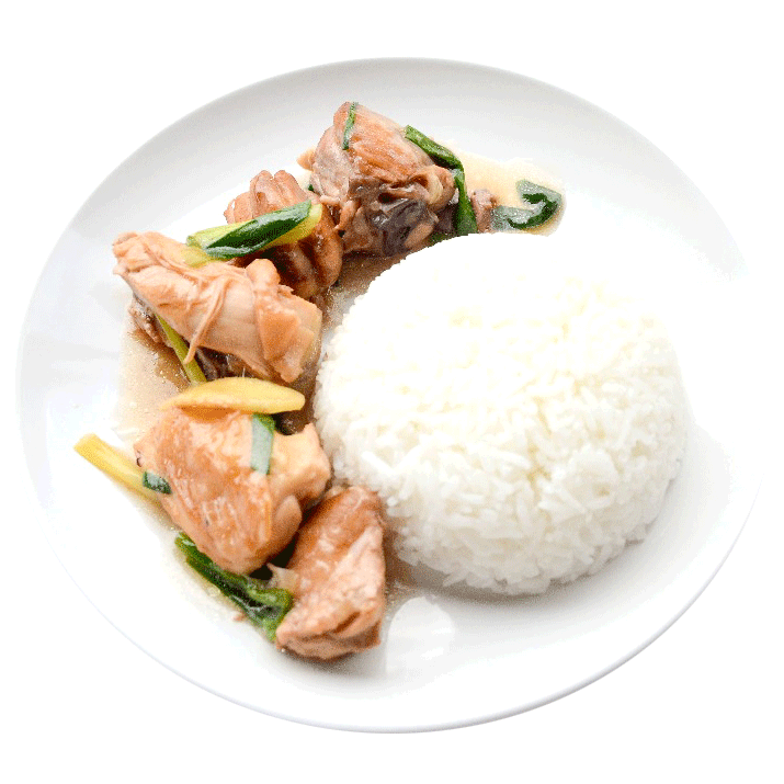 Image of freshly cooked chicken with ginger and spring onion served with rice prepared by home chef