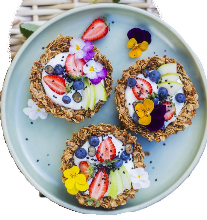 Image of Granola Fruits Tart served with fruits and yogurt